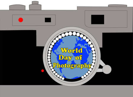 To celebrate World Photography Day, an analog reflex camera, with the globe reflected in the lens and the text, World Photography Day on the
