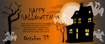 Celebration card for Halloween, scary gradient background, ghosts surrounding a dark scary house with the moon in the background and dry trees. Happy Halloween text