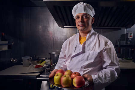Chef cook, great design for any purposes. Cooking concept. Kitchen portrait. Healthy food. Diet concept. Chef concept.