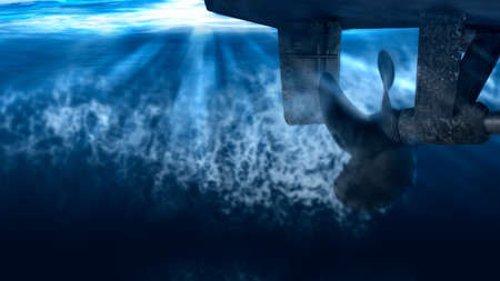 Propeller and rudder of big ship underway from underwater. Close up image detail of ship. Transportation industry. Freight transportation. Ship repair, underwater survey and shipping business concept Stock Photo