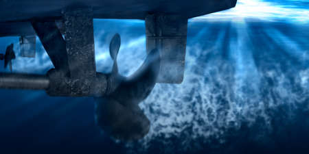 Twin propeller and rudder of big ship underway from underwater. Close up image detail of ship. Transportation industry. Freight transportation. Ship repair, underwater survey and shipping business concept Stock Photo
