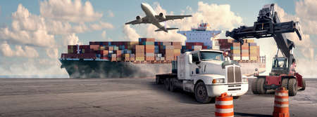 Logistic and transport concept in front Industrial Container Cargo freight ship for Concept of fast or instant shipping and  online goods orders