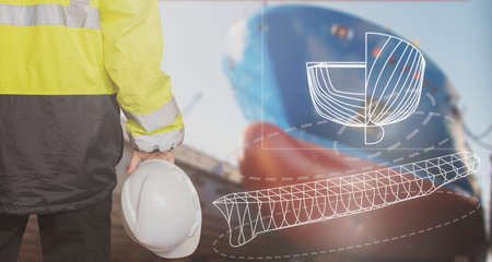 Ship sub-designer or shipbuilder in drydock with ships bow on a background. Ship design, ship buiding, construction and vessel architecture concepts. Great design for advertisement and illustration of shipbuilding business.