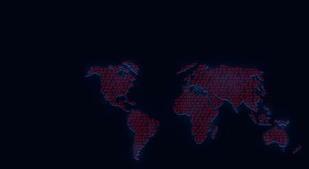 World map illustration made of red binary code as IoT, Internet of things concept and globalization on dark background.