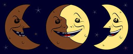 moon phases: Anger dark half moon, hypocrisy moon & joy bright half moon Illustration