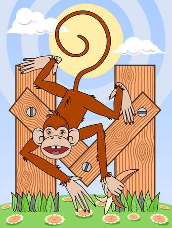 Monkey with banana on wooden letter M Vector