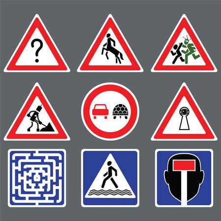 suspense: Nine funny road signs on gray background Illustration