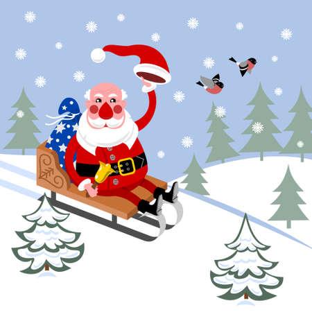 Santa Claus in sleigh rides through woods Stock Vector - 11666427