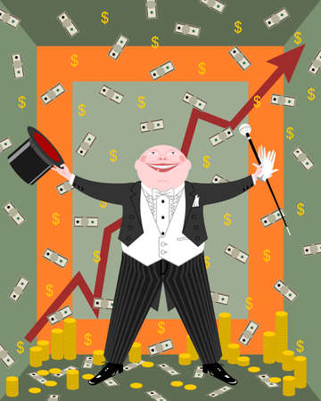 wealthy man: Capitalist in evening dress rejoices money and success