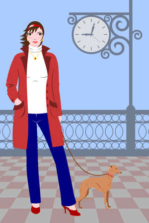 Girl in red cloak and blue jeans walking with little dog around large clock Vector