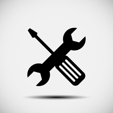 Wrench and screwdriver  repair icon Illustration