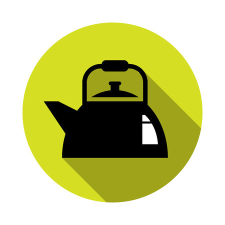 Kettle silhouette icon. Vector illustration flat design with long shadow.