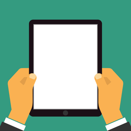 hand touch: Hand holding the tablet. Vectorillustration.
