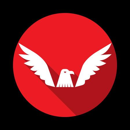 Vector illustratie van vliegende adelaar pictogram verspreid haar veren