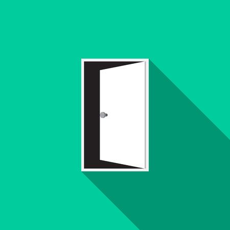 Door icon. Vector illustration flat design with long shadow