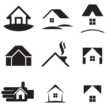 home icon: House icon set. Vector illustration Illustration