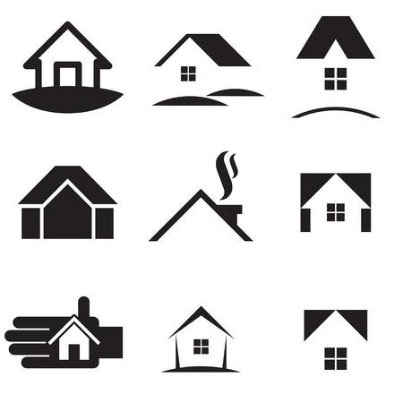 casale: Insieme dell'icona di casa. illustrazione di vettore Vettoriali