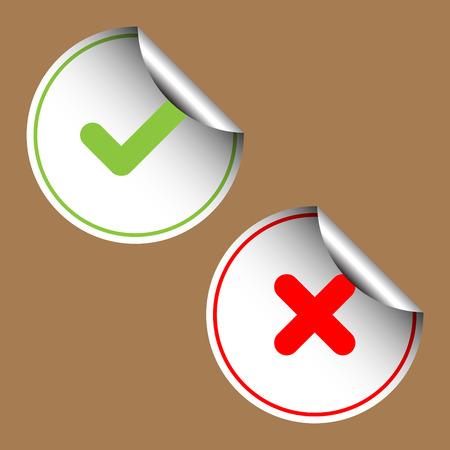 cross mark: Check And Cross Mark Stickers Set. Vector Illustration