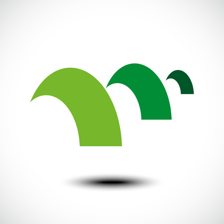 Green mountain abstract icon. Vector illustration Vector