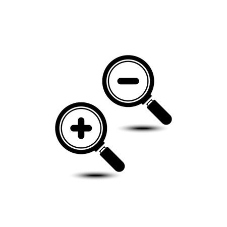 inquire: Zoom In and Zoom Out Icons. Vector illustration