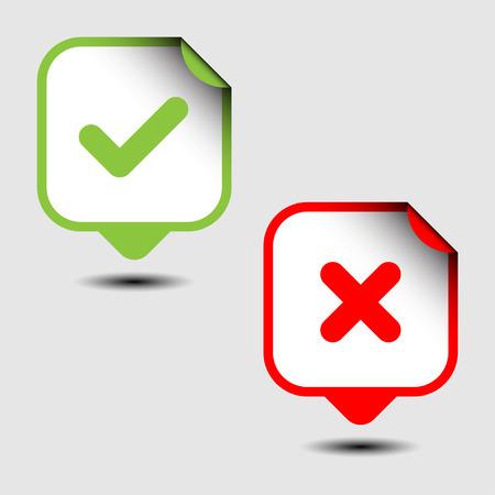 cross mark: Check and cross mark stickers. Vector illustration