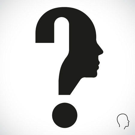 solve problem: Question mark human head symbol. Vector illustration