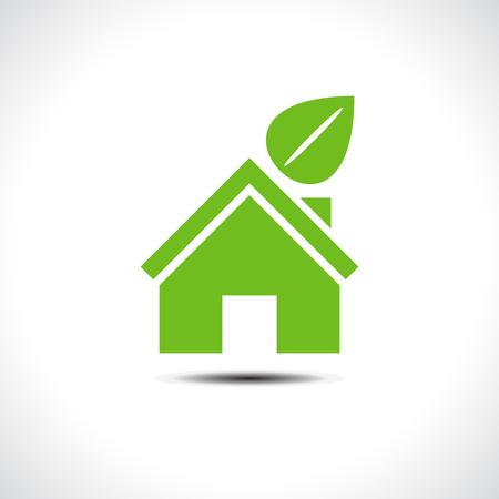 Bio groene huis pictogram. Vector illustratie