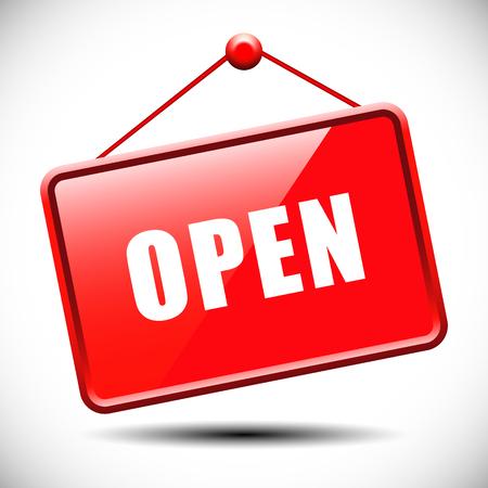 Open Teken - Illustratie van rode bord met informatie verwelkomen winkel bezoekers Stock Illustratie