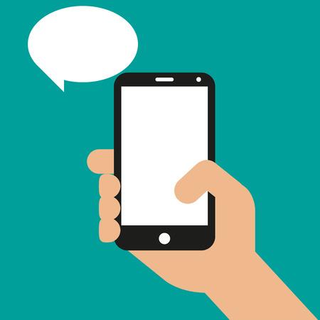 celulas humanas: Mano que sostiene teléfono inteligente negro, tocando la pantalla en blanco. Ilustración vectorial