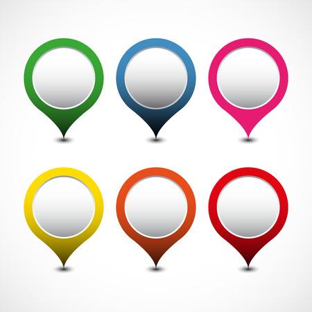 Set van heldere kaart pointers. vector illustratie Stock Illustratie