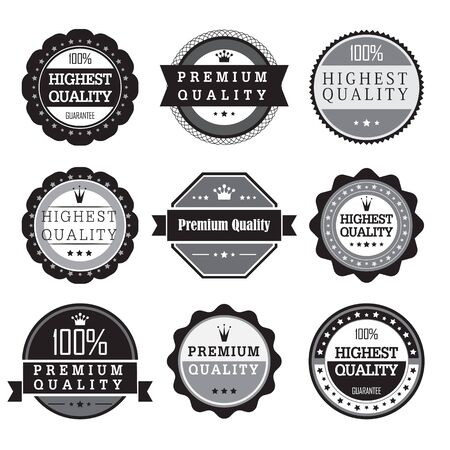 vintage label: Collection of Premium Quality and Guarantee Labels. Vector illustration