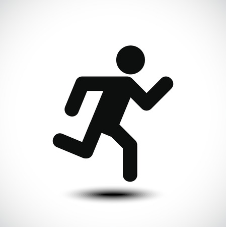 business people walking: Running man icon. Vector illustration