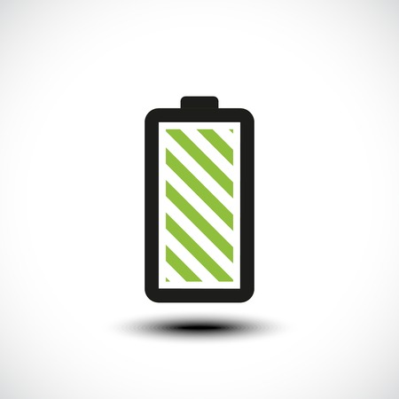 stamina: Fully charged green battery icon. Vector illustration