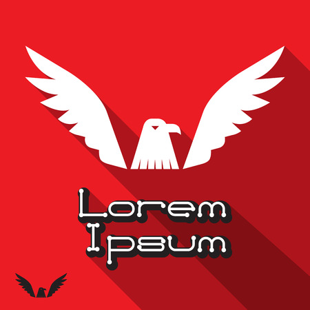 eagle flying: Vector illustration of flying eagle icon, spread out its feather Illustration