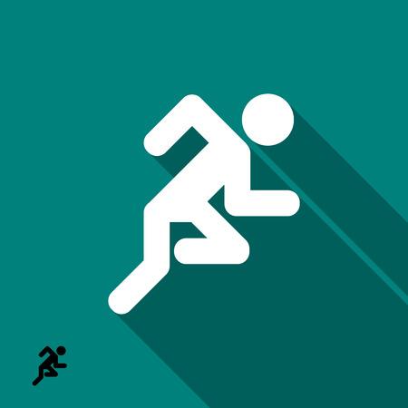 black man: Running man icon. Vector illustration