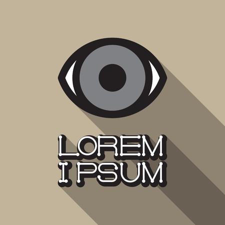 eyelids: Eye icon. Vector illustration flat design with long shadow Illustration