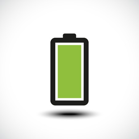 Fully charged green battery icon. Vector illustration