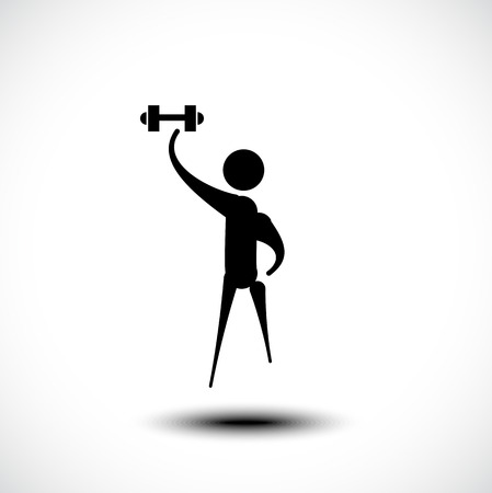 Man exercising with a weight. Vector illustration Illustration