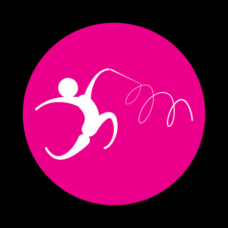 lighthearted: Professional gymnast dancer with ribbon. Vector illustration