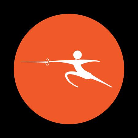 Man practicing kendo icon. Vector illustration Illustration