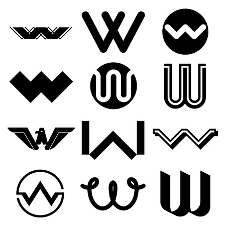 Vector illustration of abstract icons based on the letter W Vetores