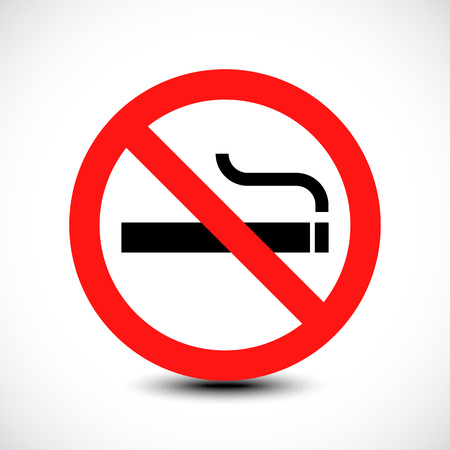 pernicious habit: No smoking sign. Illustration