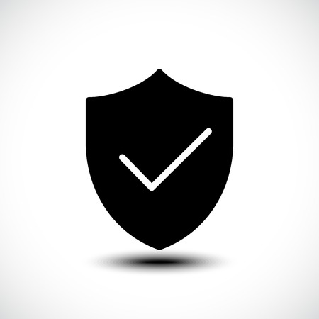validated: Tick shield security icon. Vector illustration. Illustration