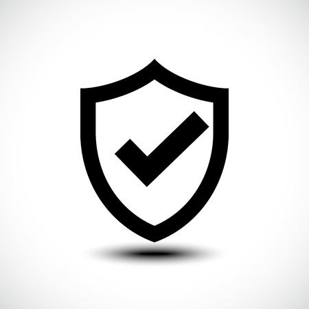Tick shield security icon. Vector illustration. 矢量图像