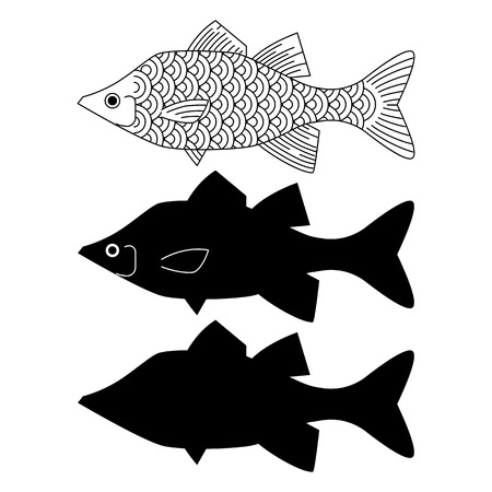 Fish isolated on a white background. Vector illustration