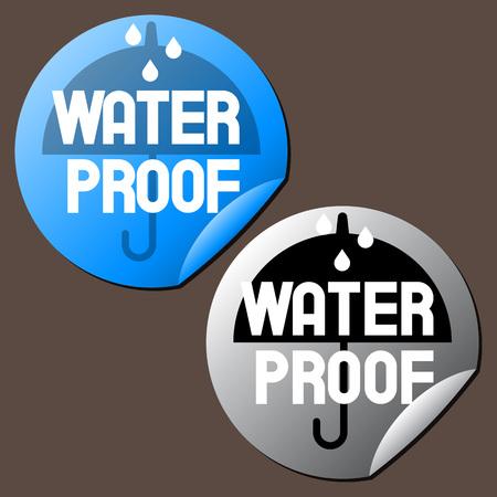 rainproof: Water Proof Stickers, Vector Illustration