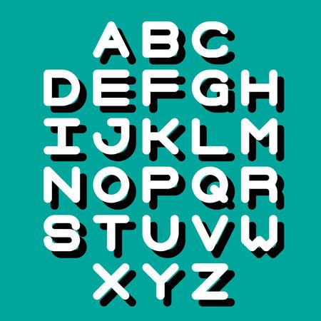 3D Font and Alphabet. Vector alphabet letters.