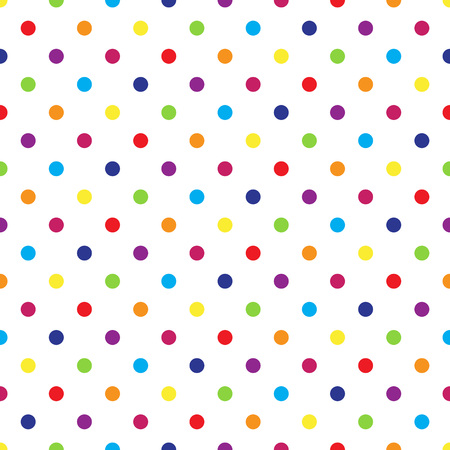 Seamless colorful polka dot pattern on white. Vector illustration. Vettoriali