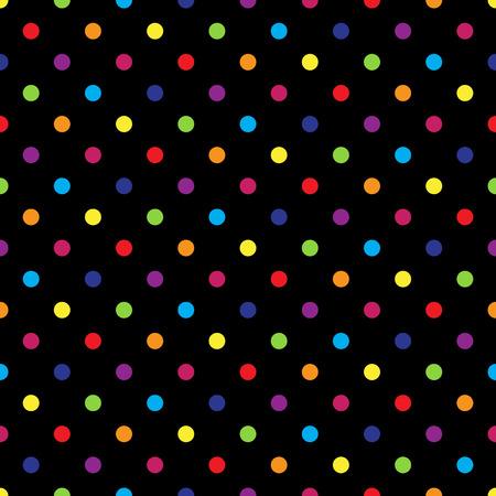 seamless polka dot coloré motif sur noir. illustration vectorielle