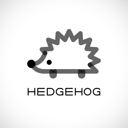 Line vector figure of hedgehog. Vector outline hedgehog for web and design. Vettoriali
